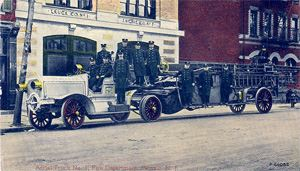 Dundee Fire House and  Aerial Truck Number 1 - 1914