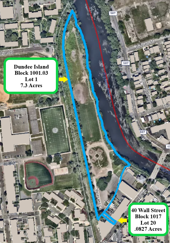 Map overlooking proposed plans for Dundee island lot